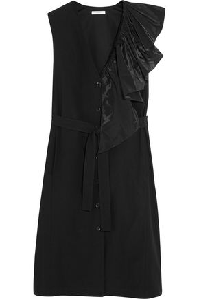 TOME Ruffled taffeta-trimmed cotton dress