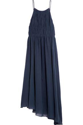 TIBI Smocked cotton and silk-blend crepon maxi dress