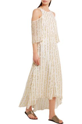 TIBI Bella cutout metallic fil coupé silk-blend maxi dress