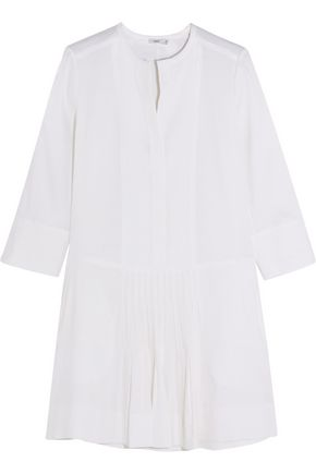 VINCE. Pleated stretch linen-blend mini dress