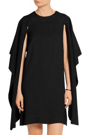 ROSETTA GETTY Cape-effect textured-crepe dress