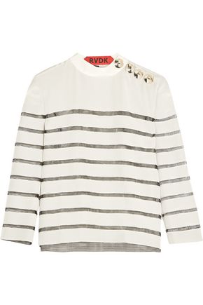 RONALD VAN DER KEMP Mesh-paneled silk top