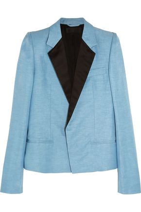 HAIDER ACKERMANN Satin-trimmed linen and silk-blend blazer