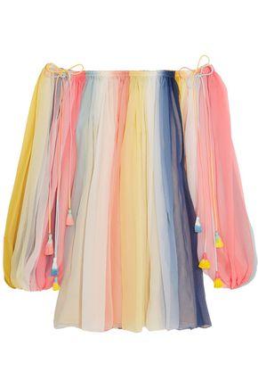 CHLOÉ Off-the-shoulder striped silk-crepon mini dress