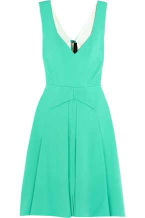 ROLAND MOURET Miller pleated stretch-crepe dress
