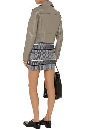 T by ALEXANDER WANG Textured-leather biker jacket