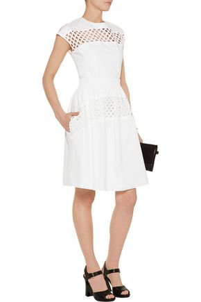 CARVEN Broderie anglaise-paneled cotton dress