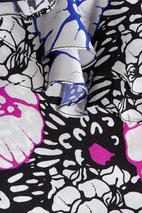 DURO OLOWU Ruffled printed silk-satin midi dress