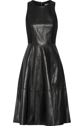 ALICE+OLIVIA Jenn stretch knit-paneled leather dress