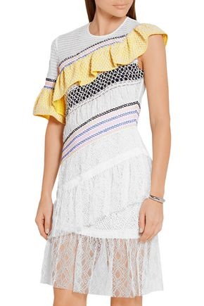 PETER PILOTTO Octave ruffled tulle and corded lace mini dress