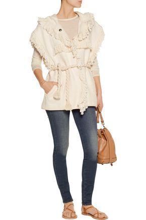 ISABEL MARANT Elma fringed cotton and linen-blend hooded gilet