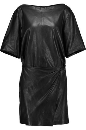 ISABEL MARANT Falco wrap-effect leather mini dress