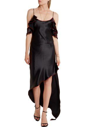 JUAN CARLOS OBANDO Asymmetric ruffled silk-satin midi dress