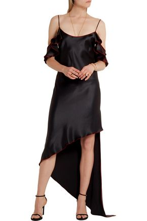 JUAN CARLOS OBANDO Asymmetric ruffled silk-satin midi dress