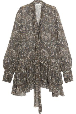 CHLOÉ Ruffled printed silk-crepon dress
