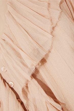 CHLOÉ Ruffled crinkled silk-georgette dress