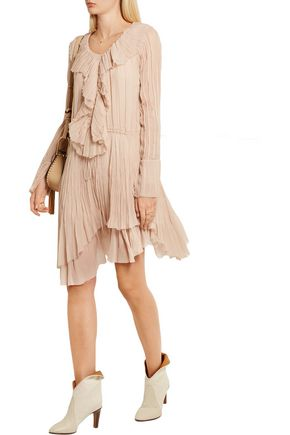 CHLOÉ Ruffled crinkled silk-georgette dress