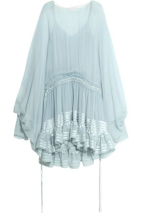 CHLOÉ Ruffled silk-mousseline dress