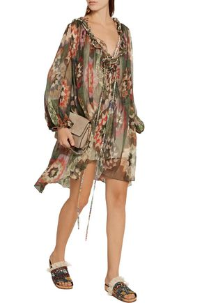 CHLOÉ Cutout ruffle-trimmed printed silk-georgette mini dress
