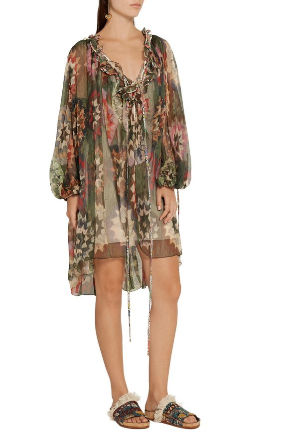 Cutout ruffle-trimmed printed silk-georgette mini dress | CHLOÉ | Sale up  to 70% off | THE OUTNET