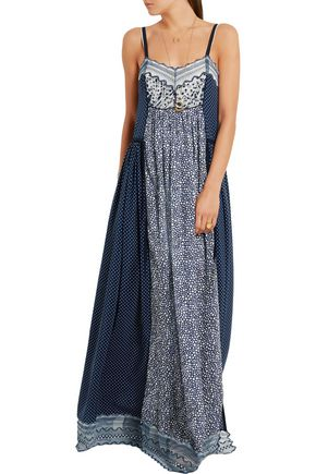 CHLOÉ Lace-trimmed printed cotton-blend crepe de chine maxi dress