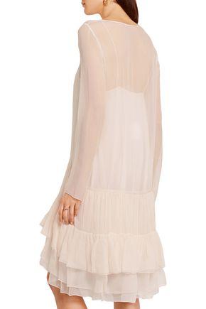 CHLOÉ Tiered ruffled silk dress