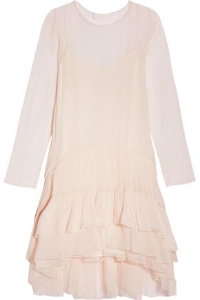 CHLOÉ Tiered ruffled silk-mousseline dress