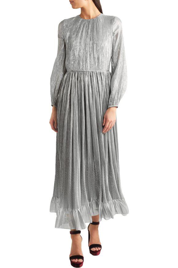 Ruffle-trimmed plissé silk-blend lamé gown   ADAM LIPPES   Sale up to 70%  off   THE OUTNET