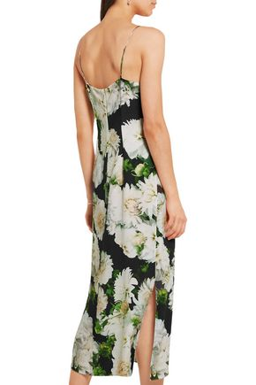 ADAM LIPPES Floral-print crepe slip dress