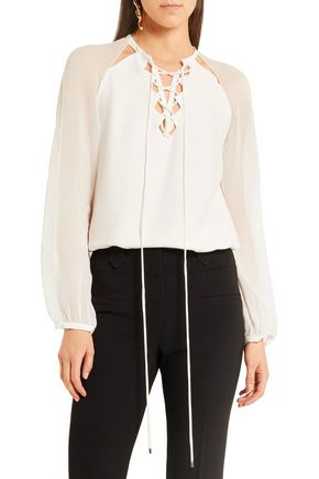 ALTUZARRA Benny cutout silk and georgette blouse