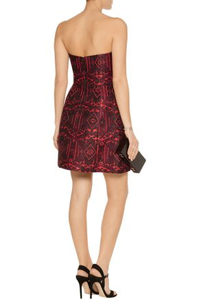 ALICE + OLIVIA Nikki strapless jacquard mini dress