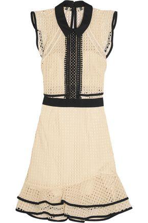 SELF-PORTRAIT Ruffled broderie anglaise organza mini dress