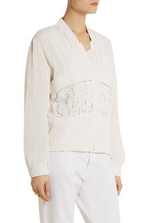 IRO Doan macramé lace-paneled crepe bomber jacket