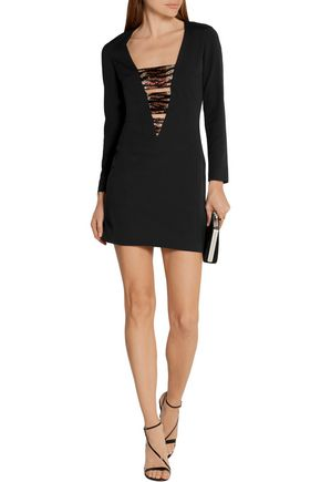 HANEY Bead-embellished stretch-silk crepe mini dress