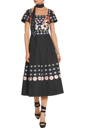TEMPERLEY LONDON Sylvie embroidered cotton and silk-blend dress