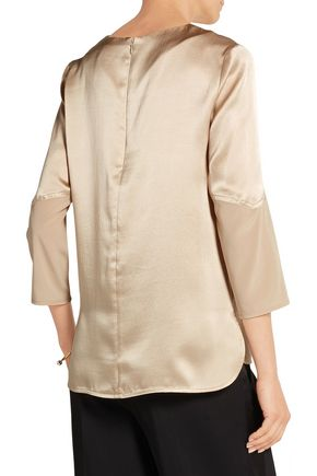 MAIYET Georgette-trimmed hammered silk-satin top
