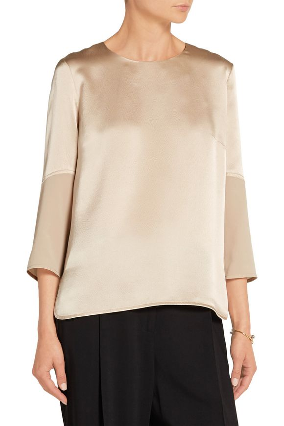 Georgette-trimmed hammered silk-satin top | MAIYET | Sale up to 70% off |  THE OUTNET