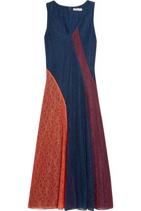 TORY BURCH Iliana paneled lace midi dress ...
