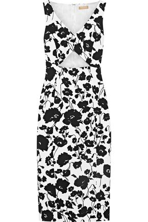 MICHAEL KORS COLLECTION Cutout floral-print textured cotton and silk-blend dress