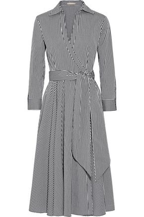 MICHAEL KORS COLLECTION Gingham cotton-blend poplin wrap dress