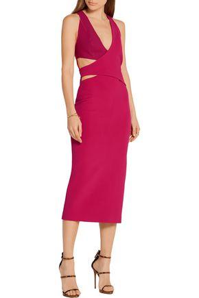 DION LEE Cutout scuba-paneled stretch-ponte midi dress