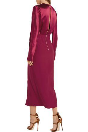 DION LEE Wrap-effect silk-satin and crepe de chine midi dress