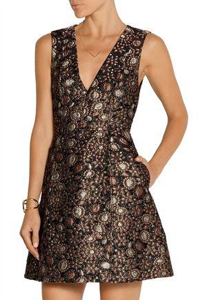 ALICE + OLIVIA Pacey metallic brocade mini dress