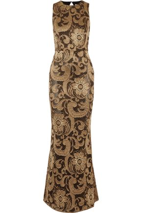 ALICE+OLIVIA Roxie open-back metallic guipure lace gown