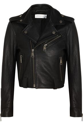 VICTORIA, VICTORIA BECKHAM Textured-leather biker jacket