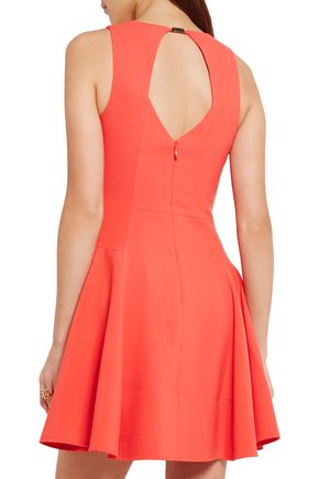 HALSTON HERITAGE Flared cutout crepe mini dress