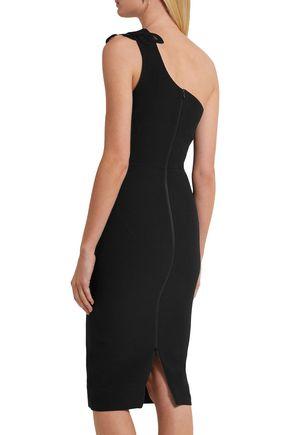 VICTORIA BECKHAM One-shoulder appliquéd silk and wool-blend crepe dress