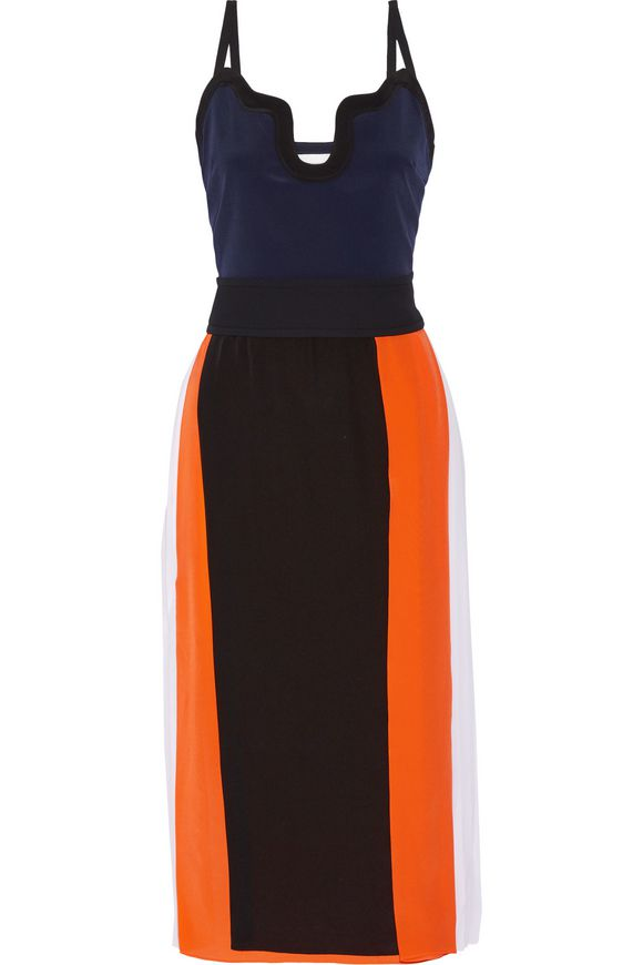 VICTORIA, VICTORIA BECKHAM Color-block silk crepe de chine midi dress