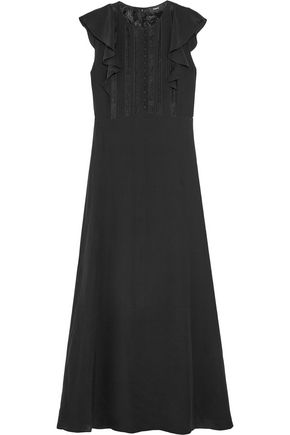 THEORY Lace-trimmed ruffled silk crepe de chine maxi dress