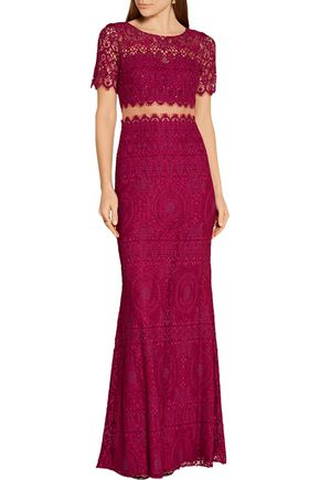 MARCHESA NOTTE Tulle-paneled embellished corded lace gown